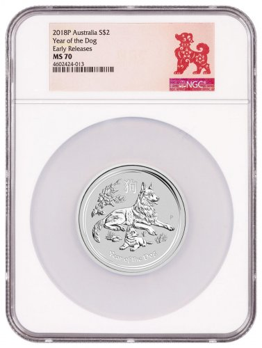 2018-P Australia Year of the Dog 2 oz Silver Lunar (Series 2) $2 Coin NGC MS70 ER Year of the Dog Label