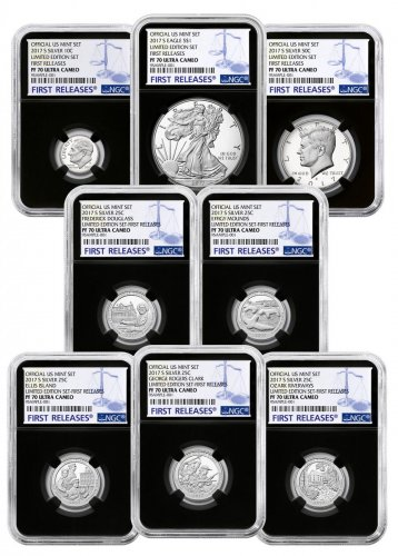 8-Coin Set - 2017-S U.S. Limited Edition Silver Proof Coins Set NGC PF70 UC FR Black Core Holder
