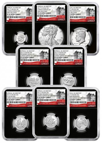 8-Coin Set - 2017-S U.S. Limited Edition Silver Proof Coins Set NGC PF69 UC FR Black Core Holder Exclusive U.S. Mint 225th Anniversary Label