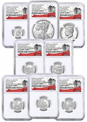 8-Coin Set - 2017-S U.S. Limited Edition Silver Proof Coin Set NGC PF70 UC FR Exclusive U.S. Mint 225th Anniversary Label