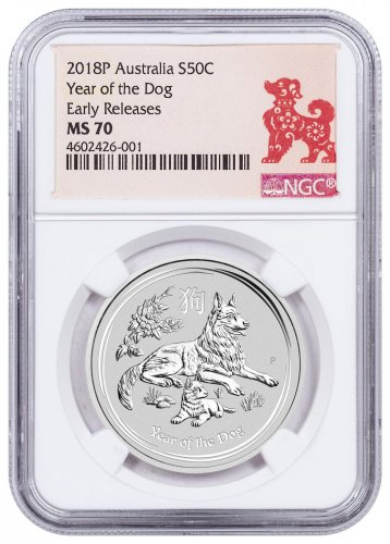2018-P Australia Year of the Dog 1/2 oz Silver Lunar (Series 2) $0.50 Coin NGC MS70 ER Year of the Dog Label