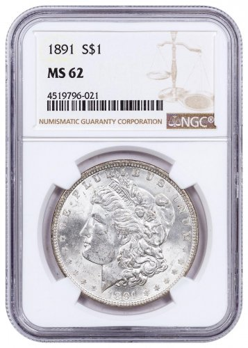 1891 Morgan Silver Dollar NGC MS62