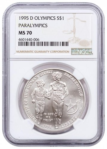 1995-D Olympics - Paralympics Blind Runner Commemorative Silver Dollar NGC MS70
