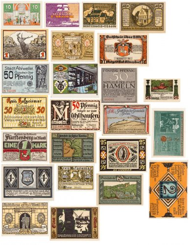 Set of 25 - Weimar Germany Notgeld Notes c.1920s