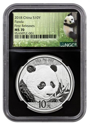 2018 China 30 g Silver Panda - 35th Anniversary ¥10 Coin NGC MS70 FR Black Core Holder Exclusive Panda Label