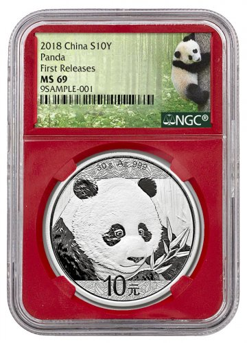 2018 China 30 g Silver Panda - 35th Anniversary ¥10 Coin NGC MS69 FR Red Core Holder Exclusive Panda Label