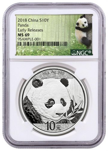 2018 China 30 g Silver Panda - 35th Anniversary ¥10 Coin NGC MS69 ER Exclusive Panda Label