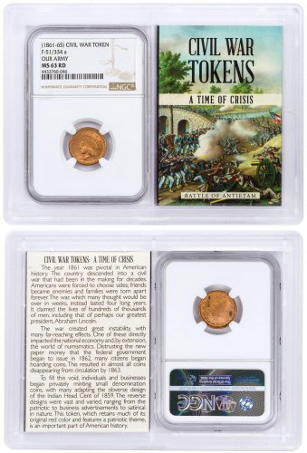 (1861-1865) United States Our Army Civil War Token NGC MS63 RD In Story Vault Holder
