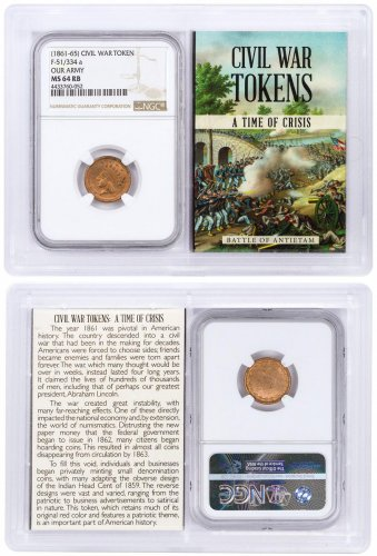 (1861-1865) United States Our Army Civil War Token NGC MS64 RB In Story Vault Holder