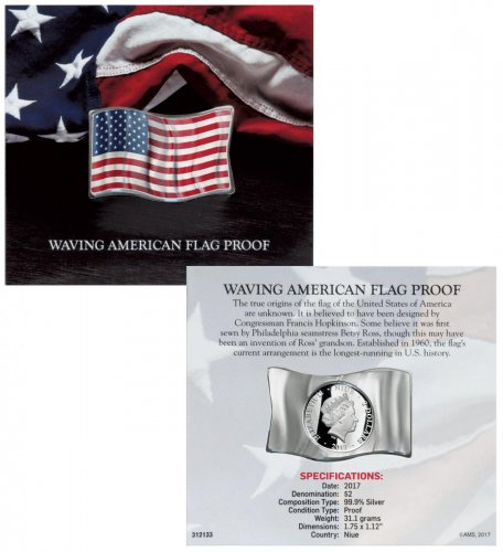 2017 Niue Waving American Flag Shaped 1 oz Silver Colorized Proof $2 Coin GEM Proof in its Original Mint Packaging