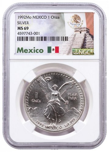 1992 Mexico 1 oz Silver Libertad Coin NGC MS69 Exclusive Mexico Label
