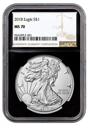2018 American Silver Eagle NGC MS70 Black Core Holder