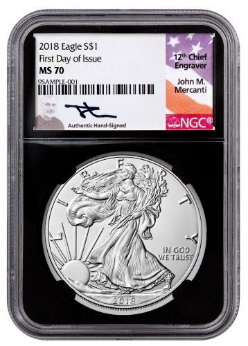 2018 American Silver Eagle NGC MS70 FDI Black Core Holder Mercanti Signed Label