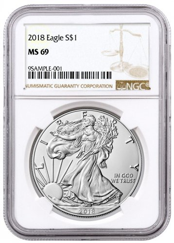 2018 American Silver Eagle NGC MS69 Brown Label