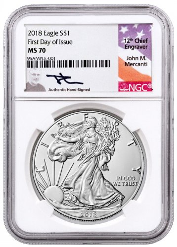 2018 American Silver Eagle NGC MS70 FDI Mercanti Signed Label