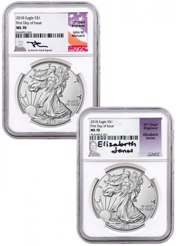 2-Coin Set - 2018 American Silver Eagle NGC MS70 FDI Mercanti + Jones Signed Labels