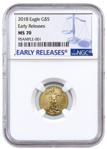 2018 1/10 oz Gold American Eagle $5 NGC MS70 ER