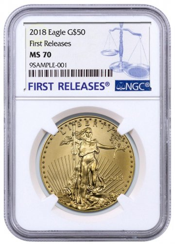 2018 1 oz Gold American Eagle $50 NGC MS70 FR