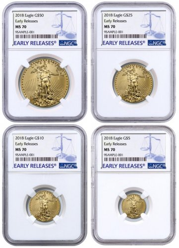 2018 Gold American Eagle 4 Coin Set Ngc Ms70 Early Releases Moderncoinmart