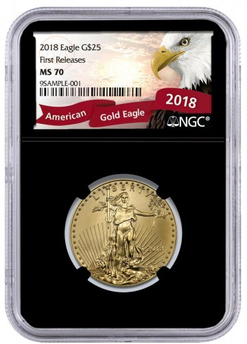 2018 1/2 oz Gold American Eagle $25 NGC MS70 FR Black Core Holder Exclusive Eagle Label