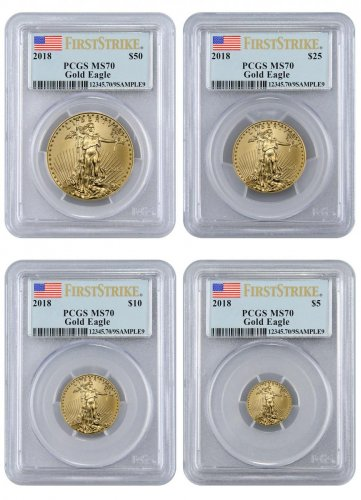 2018 Gold American Eagle 4 Coin Set Pcgs Ms70 First Strike Flag Label Moderncoinmart