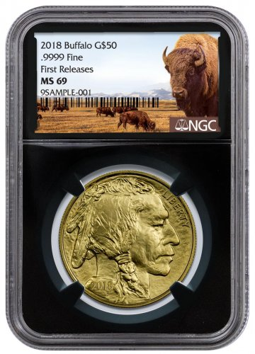2018 1 oz Gold Buffalo $50 Coin NGC MS69 FR Black Core Holder Buffalo Label