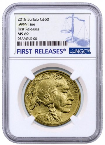 2018 1 oz Gold Buffalo $50 Coin NGC MS69 FR