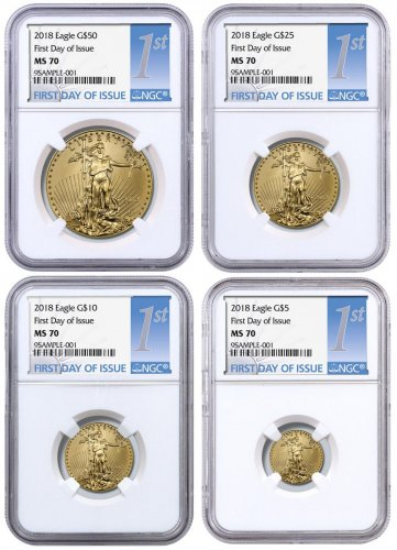 2018 Gold American Eagle 4-Coin Set NGC MS70 FDI