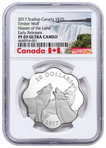 2017 Canada Master of the Land - Timber Wolf Scalloped Silver Proof $20 Coin NGC PF69 UC ER Exclusive Canada Label