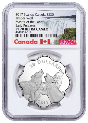2017 Canada Master of the Land - Timber Wolf Scalloped Silver Proof $20 Coin NGC PF70 UC ER Exclusive Canada Label