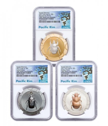 2017 Cook Islands Scarab Beetle Selection II - 3-Coin Set High Relief 1 oz Silver Proof $5 Coin NGC PF69 UC ER Exclusive Pacific Rim Label