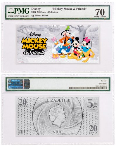 2017 Niue Disney - Mickey and Friends Foil Note 5 g Silver 20c PMG Superb Gem Unc 70