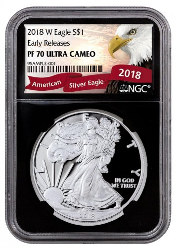 2018-W Proof American Silver Eagle NGC PF70 ER Black Core Holder Exclusive Eagle Label