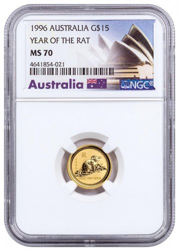 1996 Australia Year of the Rat 1/10 oz Gold Lunar (Series 1) $15 Coin NGC MS70 Exclusive Australia Label