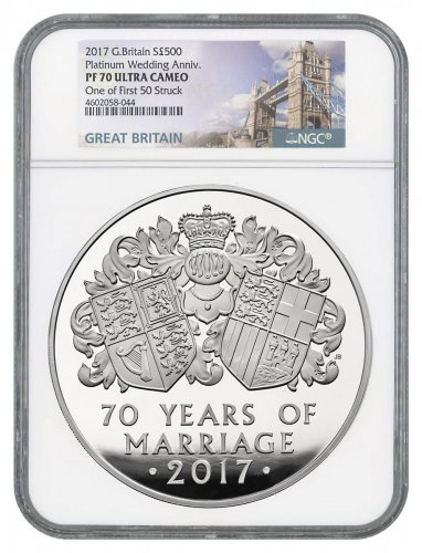 2017 Great Britain 70th Wedding Anniversary - Piedfort 1 Kilo Silver Proof £500 Coin Scarce and Unique Coin Division NGC PF70 UC One of First 50 Struck