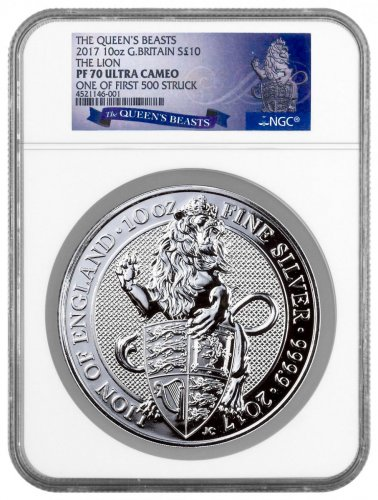 2017 Great Britain 1 Kilo Silver Queen's Beasts - Lion of England Proof £500 Coin Scarce and Unique Coin Division NGC PF70 FS