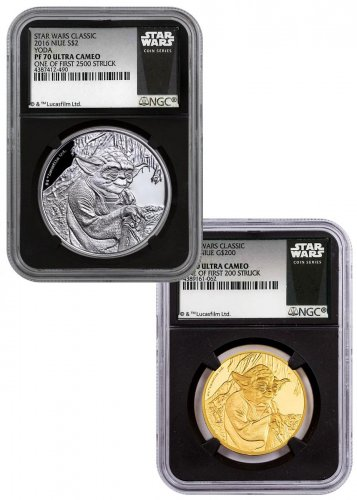 2016 Niue Star Wars Classic - Yoda 2-Coin Set 1 oz Gold + Silver Proof Coin Scarce and Unique Coin Division NGC PF70