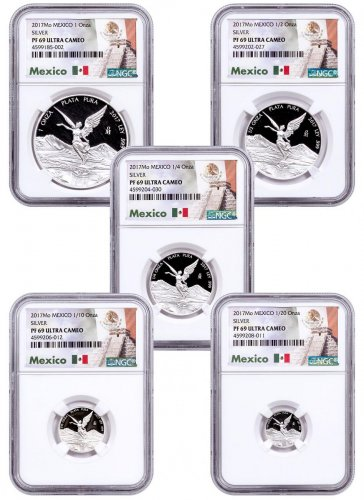 2017-Mo Mexico Silver Libertad - 5-Coin Set Proof Coin NGC PF69 UC OGP Mexico Label