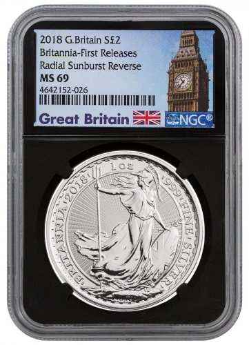 2018 Great Britain 1 oz Silver Britannia £2 Coin NGC MS69 FR Black Core Holder Exclusive Big Ben Label