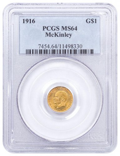 1916 McKinley Dollar $1 Gold Commemorative Coin PCGS MS64