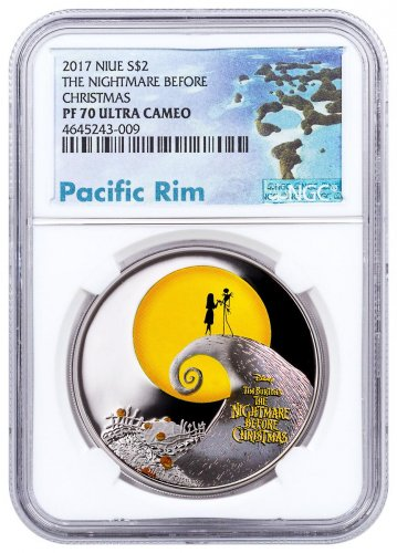 2017 Niue Disney The Nightmare Before Christmas 1 oz Silver Colorized Proof $2 Coin NGC PF70 UC Exclusive Pacific Rim Label
