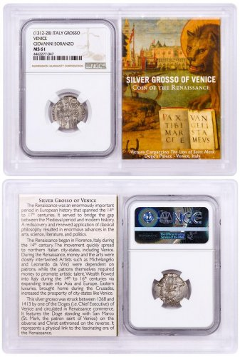 1268-1413 Italy Silver Grosso Venice-Renaissance- NGC MS61 Story Vault