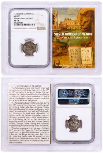 1268-1413 Italy Silver Grosso Venice-Renaissance- NGC XF40 Story Vault