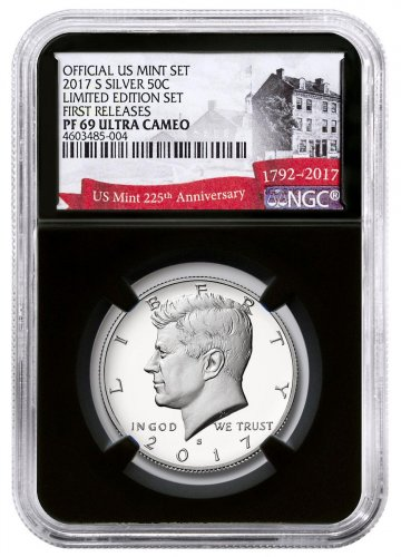 2017-S Silver Proof Kennedy Half Dollar From Limited Edition Silver Proof Set NGC PF69 UC FR Black Core Holder Exclusive U.S. Mint 225th Anniversary Label