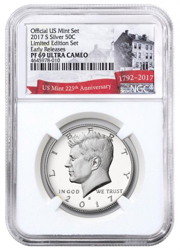 2017-S Silver Proof Kennedy Half Dollar From Limited Edition Silver Proof Set NGC PF69 UC ER Exclusive U.S. Mint 225th Anniversary Label