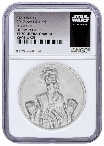 2017 Niue Star Wars Classic - Han Solo Ultra High Relief 2 oz Silver Proof $5 Coin NGC PF70 UC Exclusive Star Wars Label