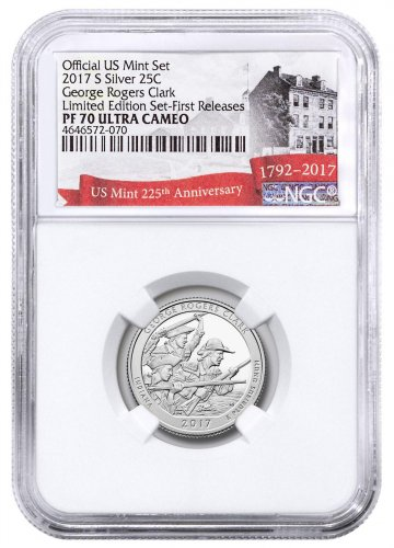 2017-S Silver George Rogers Clark National Historical Park Proof America the Beautiful Quarter From Limited Edition Silver Proof Set NGC PF70 UC FR Exclusive U.S. Mint 225th Anniversary Label