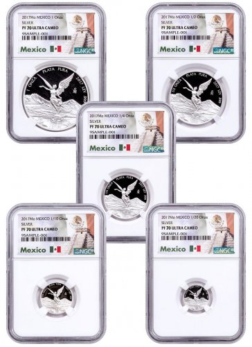 2017-Mo Mexico Silver Libertad 5-Coin Set Proof Coin NGC PF70 UC Mexico Label