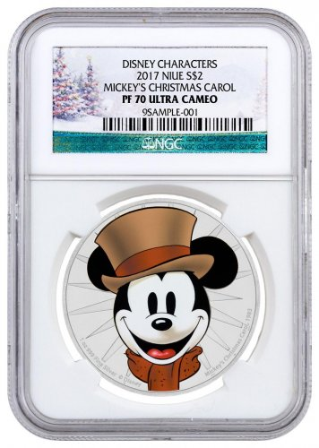 2017 Niue Mickey Through the Ages - Mickey's Christmas Carol 1 oz Silver Colorized Proof $2 Coin NGC PF70 UC Holiday Label