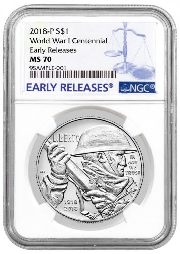 2018-P World War I Centennial Commemorative Silver Dollar Coin NGC MS70 ER